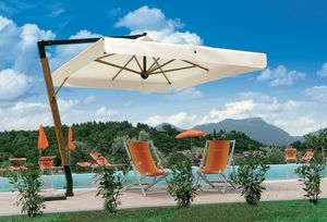 Palladio arm, Sun umbrella with wooden structure, for gardens and pools
