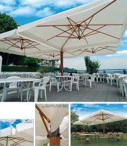 Palladio poker/double, Double sun umbrella with aluminum structure