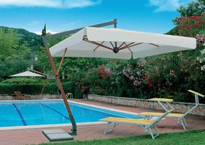 Torino arm, Parasol with wind-stop system, wooden structure