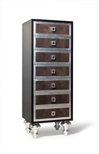 Art. 2237 Roxanne, Black and silver finish chest of drawers