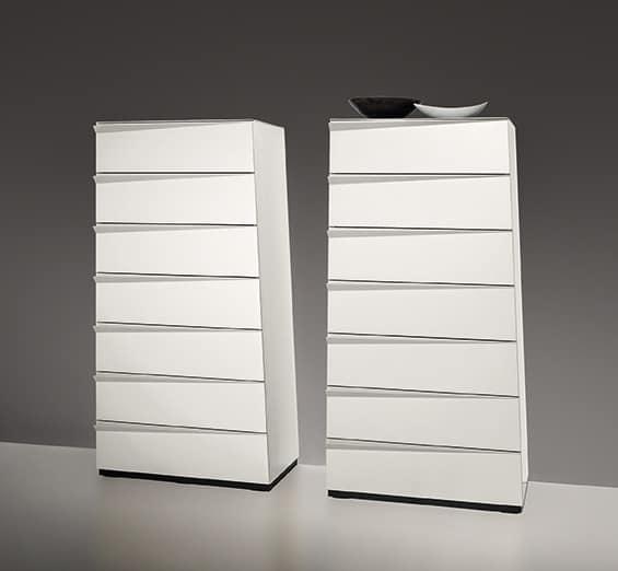 BABEL, inclined 7-drawer unit, trapezoidal shape