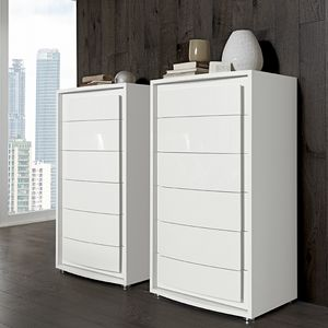 Dama Bianca tall chest of drawers, Lacquered weekly chest of drawers