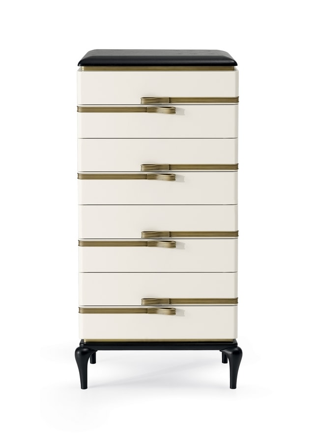 Dilan Art. D72, White lacquered weekly chest of drawers