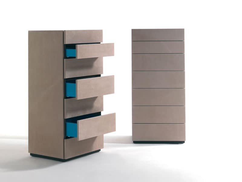 HARU NABUK dresser, Wooden weekly drawers covered in leather, various colors