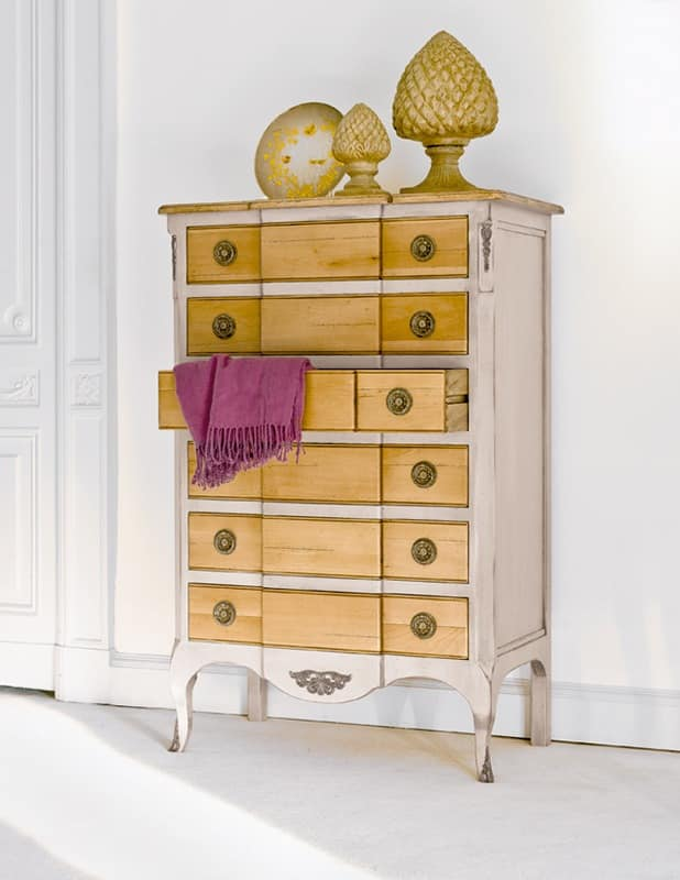 LYRA Art. 1497, Weekly drawers, lacquered, in raw walnut, per room