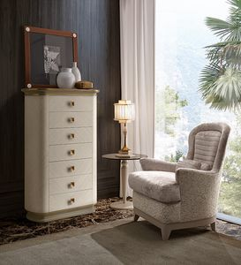 Oliver Art. OL72, Eucalyptus finish weekly chest of drawers