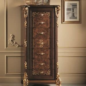Sinfonia tall chest, Carved wood classic tall chest, with gold leaf finishes