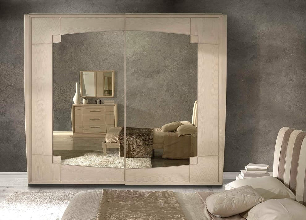 A 706, Ash wardrobe, with sliding doors and mirror bronzed