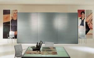 ALLUMINIO comp.02, Wardrobe with 3 sliding aluminum doors, for bedrooms