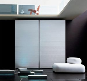 ALLUMINIO comp.01, Wardrobe with 2 doors covered in aluminum, for bedroom