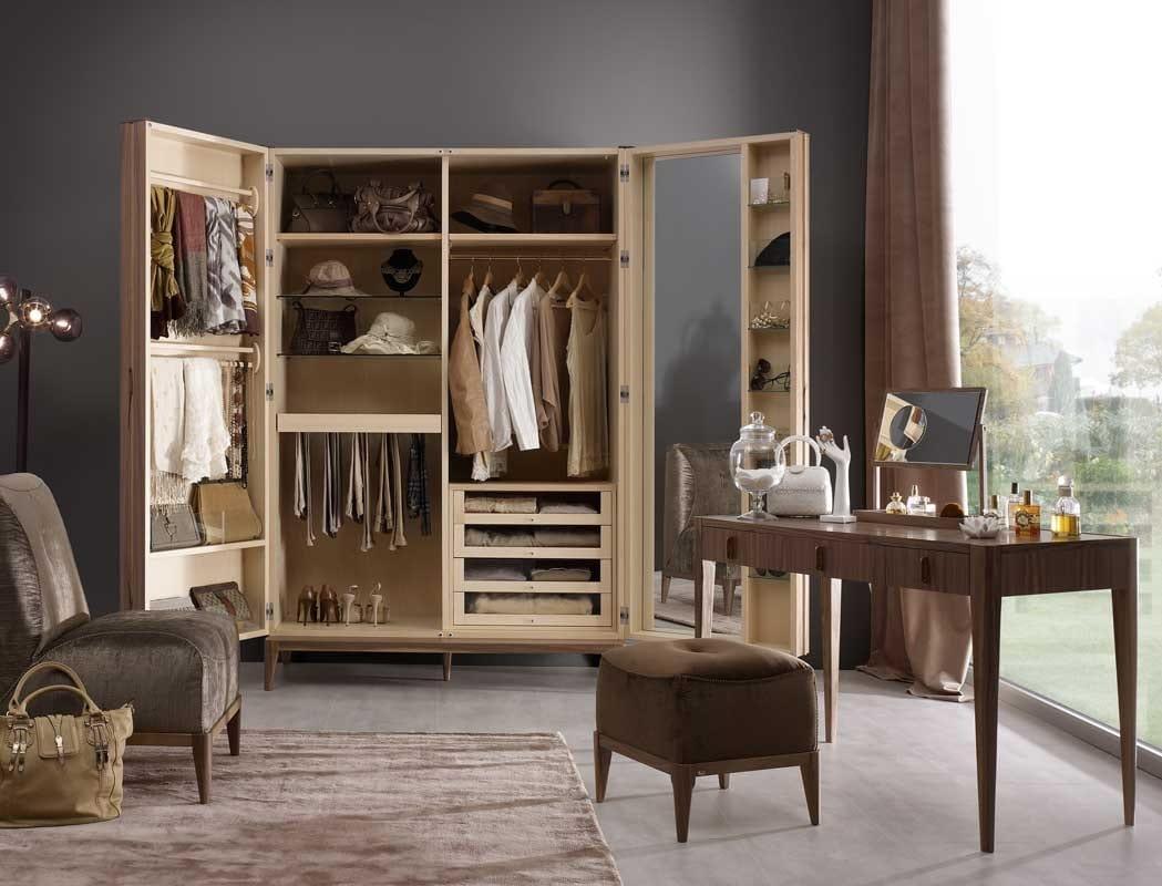 Ambrogio wardrobe, Wooden wardrobe, with internal mirror