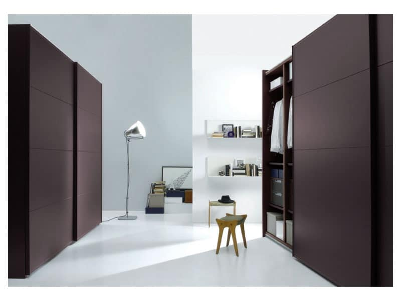 ARKON, Wardrobe with sliding doors covered in leather