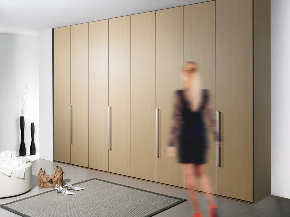 Wardrobe Itaca 01, Modular wardrobe with metal handles, for office
