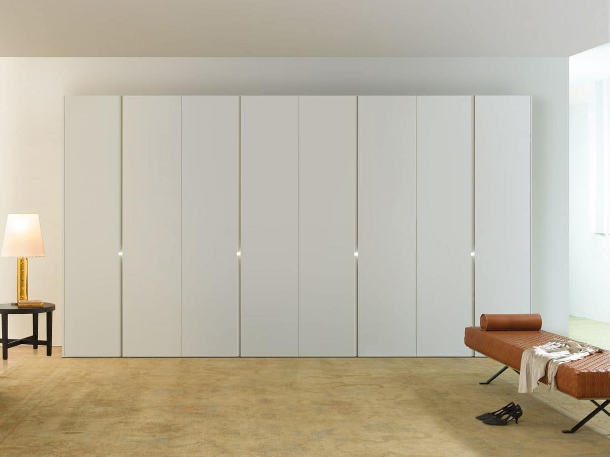 Modern Wardrobe Sliding Or Hinged Doors White Lacquered