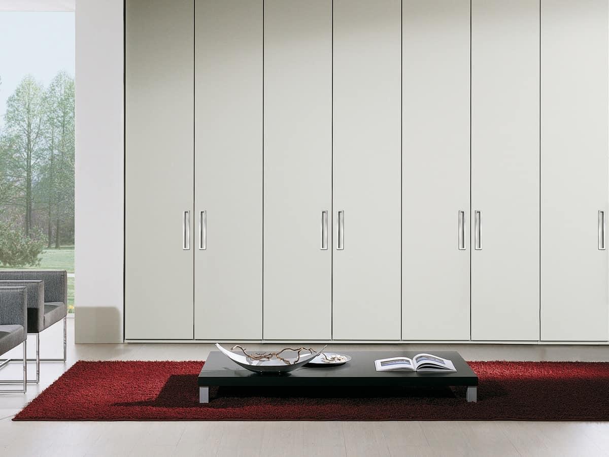 Wardrobe Itaca 14, Modern wardrobe with built-in handle, metal decorations