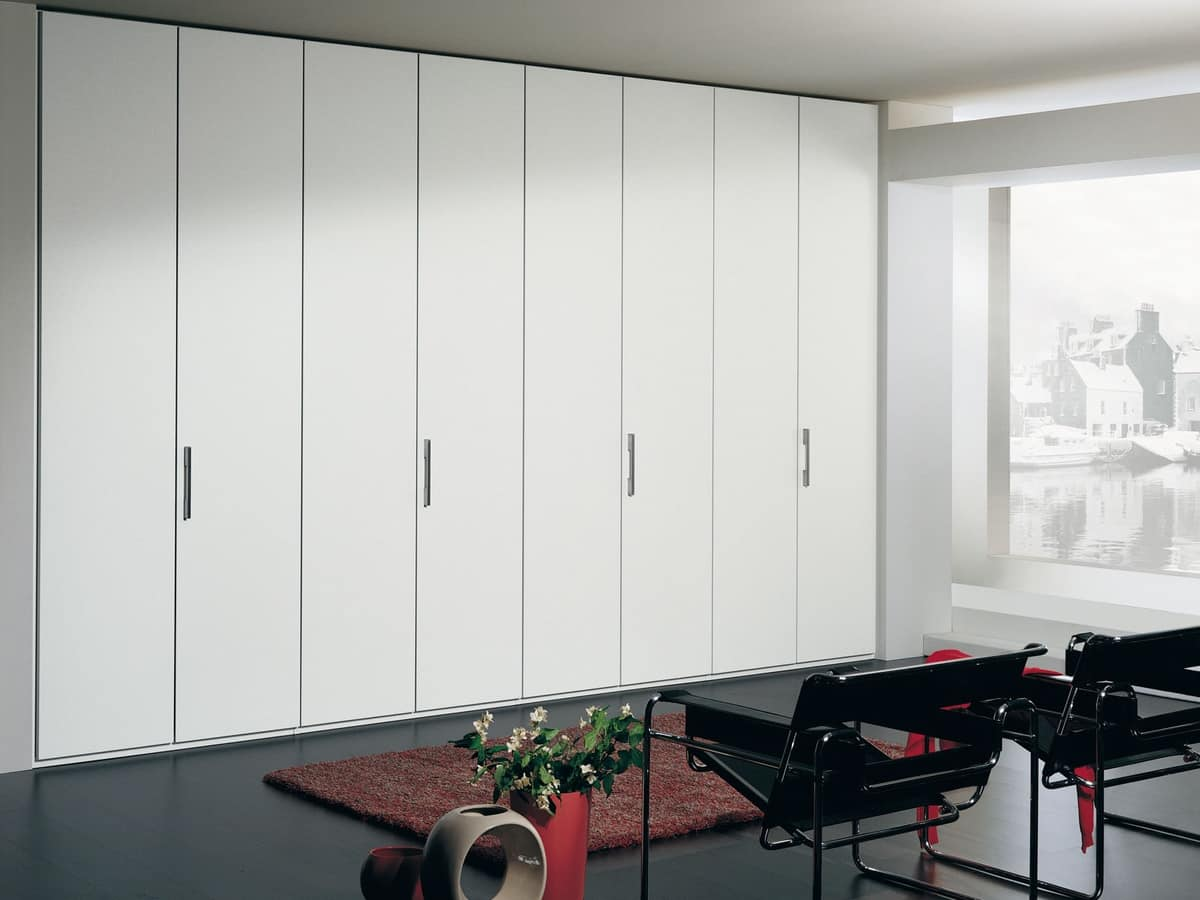 Armadio Itaca 16, Modular wardrobe in a linear style, various handles