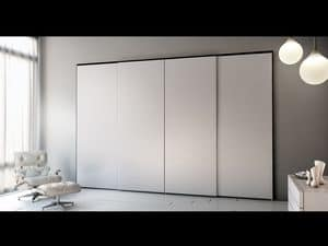 Armadio Zen 07, Wardrobe with 4 sliding doors, elegant and modern