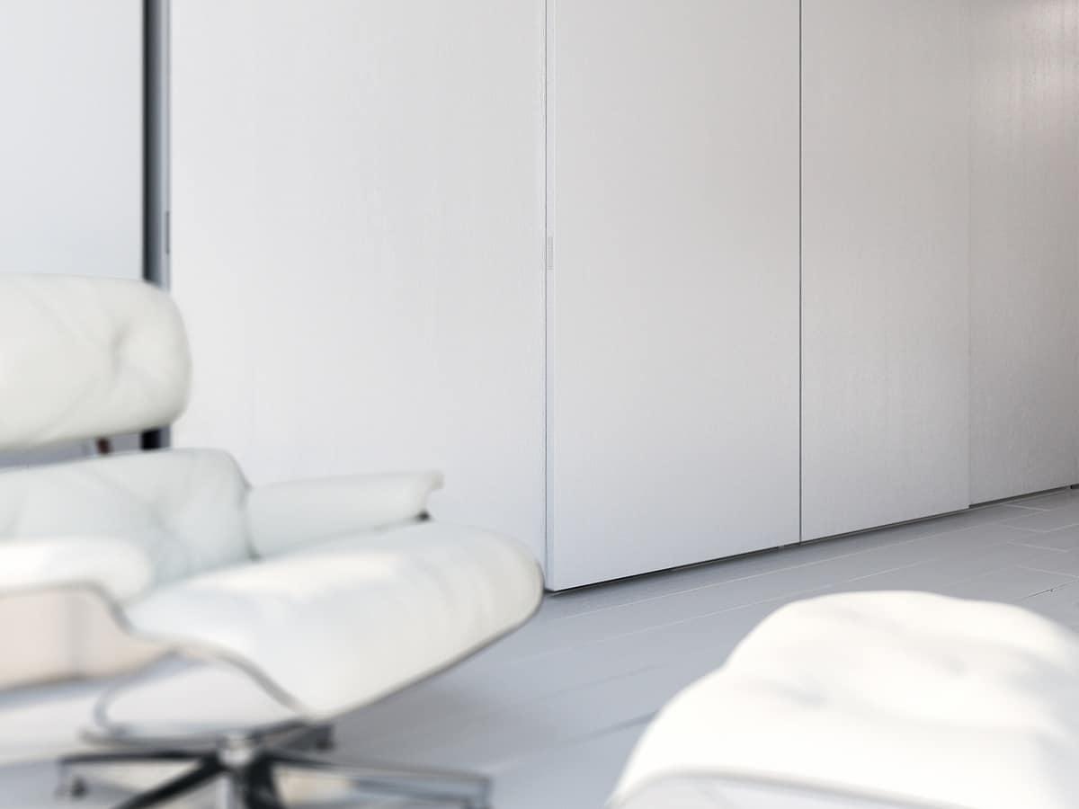 Armadio Zen 07, Wardrobe with 4 sliding doors, elegant and modern