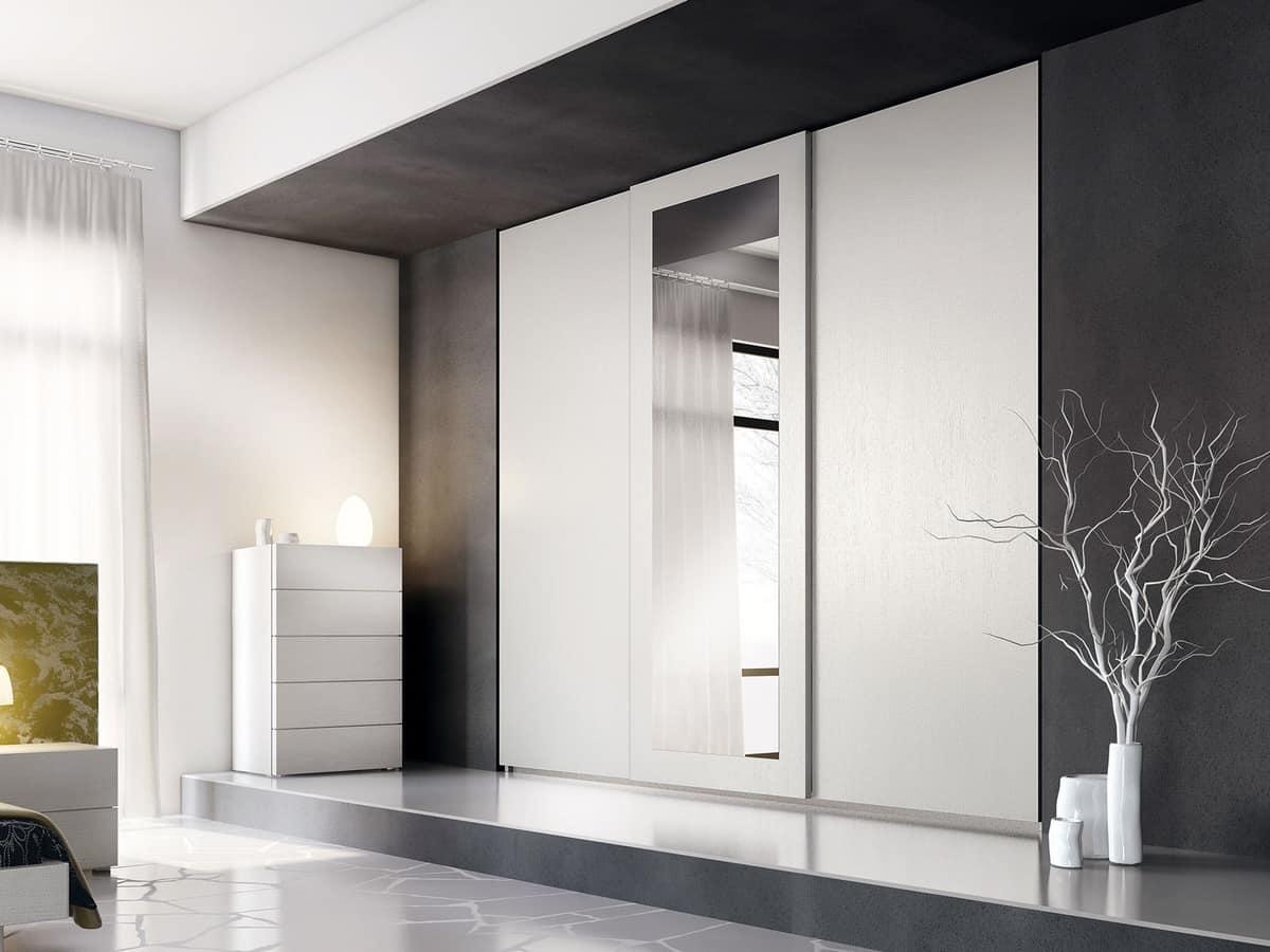 Wardrobe Zen 13, Linear wardrobe, with mirror on the middle door