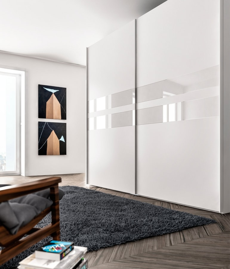 ATHENA, Wardrobe made of melamine and glass, for bedrooms