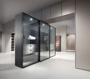 ATLANTE WIND comp.01, Cabinet / showcase with sliding doors, in aluminum and crystal