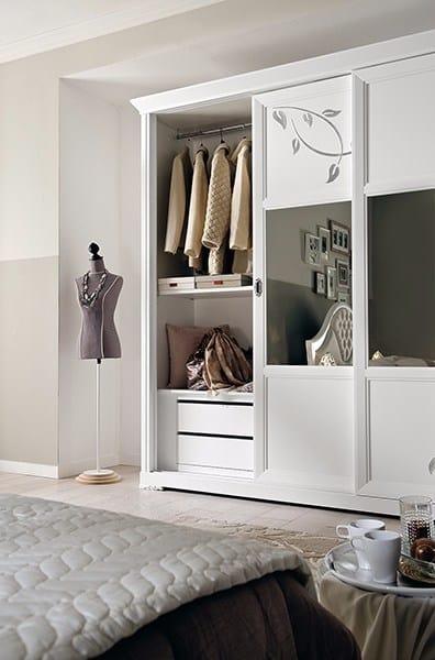 Camelia wardrobe, White wardrobe with mirror sliding doors