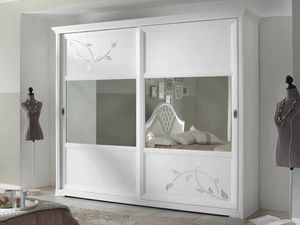 Camelia wardrobe, White wardrobe with mirror sliding doors