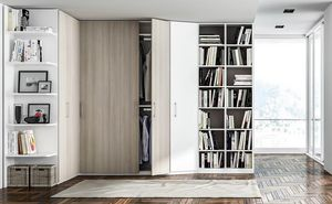 FILO, Wardrobe with bookcase made of melamine