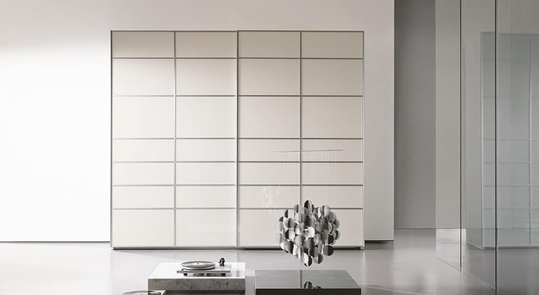 FRAMMENTI, Wardrobe with sliding door, finishing with doped crystals