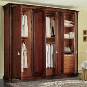 Gardenia wardrobe, Classic walnut wardrobe, with side curved doors