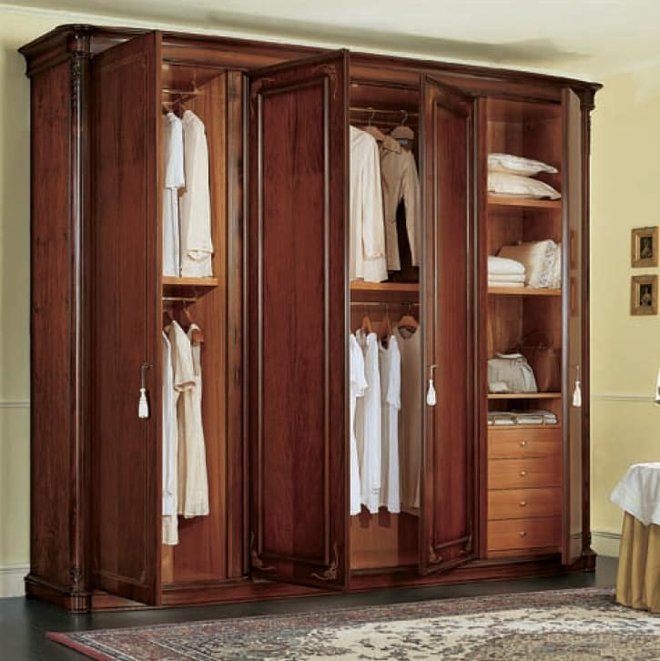 Gardenia wardrobe, Classic walnut wardrobe, with side curved doors