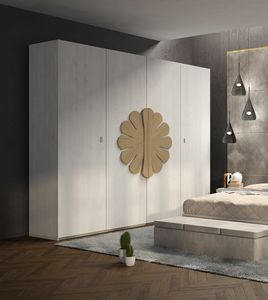 La Nuit wardrobe, Wooden wardrobe with floral decoration