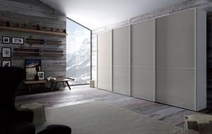 Link, Wardrobe in woon and glass, sliding door, for bedroom
