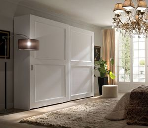 Liò white lacquered wardrobe, Wardrobe with sliding doors, white lacquered