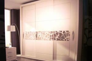 Love, Wardrobe with 3 sliding doors, with silk-screened glass
