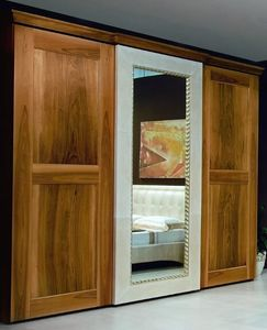 New '800 wardrobe, Wardrobe with mirrored door, with leather decorations