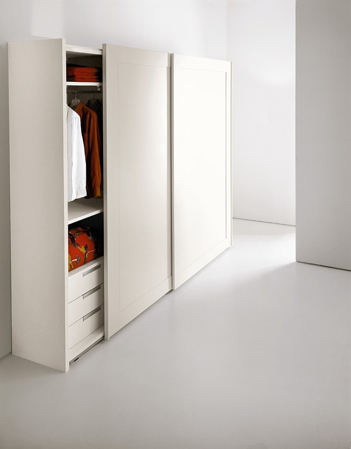 PASSE-PARTOUT, Wardrobe for the bedroom, doors with framed mirror