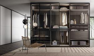 RIMMEL, Wardrobe with smoked glass doors