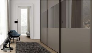 TRIS, Wardrobe with sliding doors, painted glass
