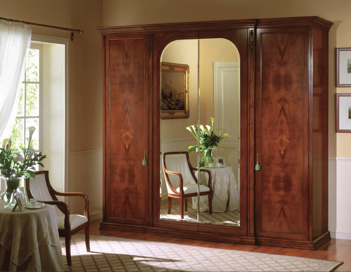 Voltaire wardrobe with mirror, Classic wardrobe with mirrors, with shirts hanger