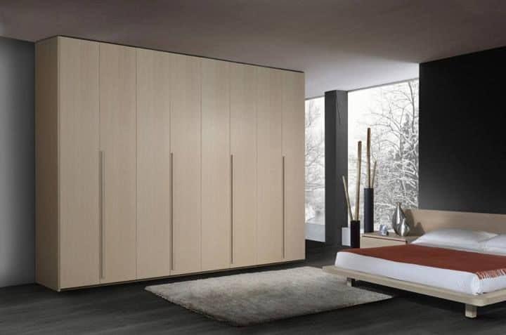 Wardrobe 22, Contemporary wooden wardrobe, 6 hinged doors, for bedrooms