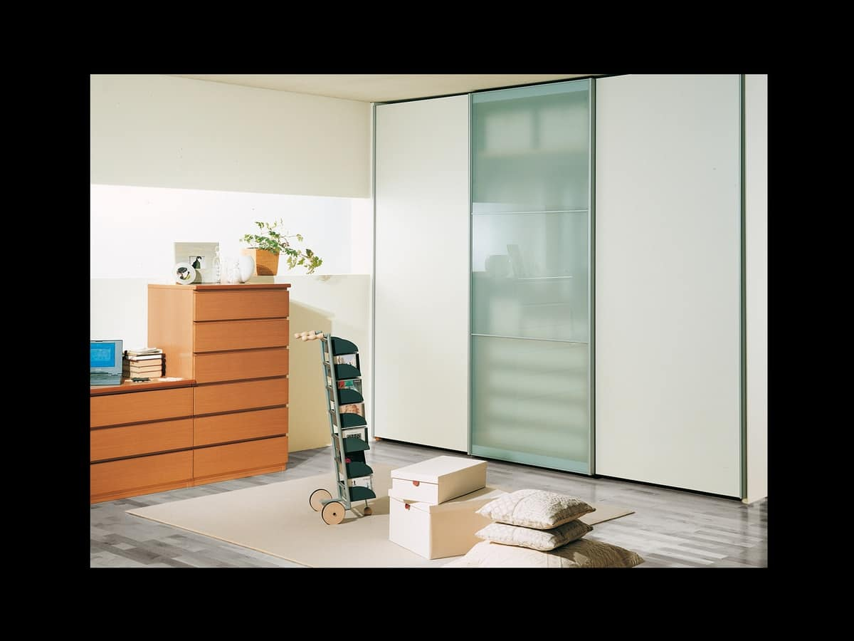 Wardrobe Coo 12, Modern wardrobe with window in the central door