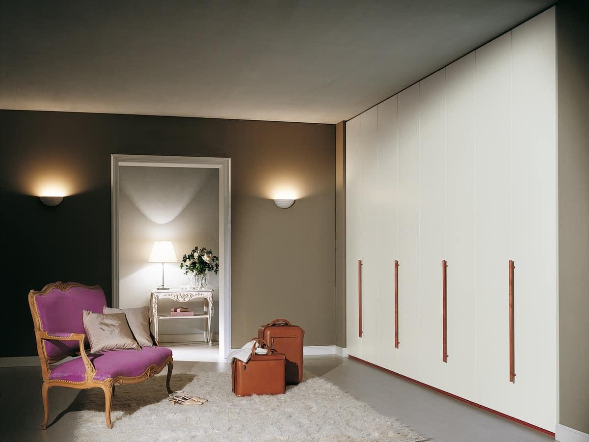 Wardrobe Itaca 19, Modular wardrobe with wooden handles, for bedrooms