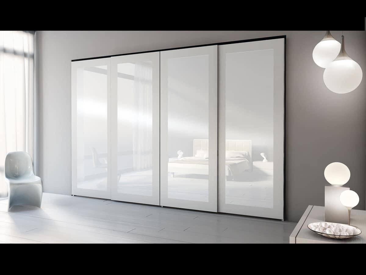 Wardrobe Zen 09, Modern wardrobe with mirrors, various versions