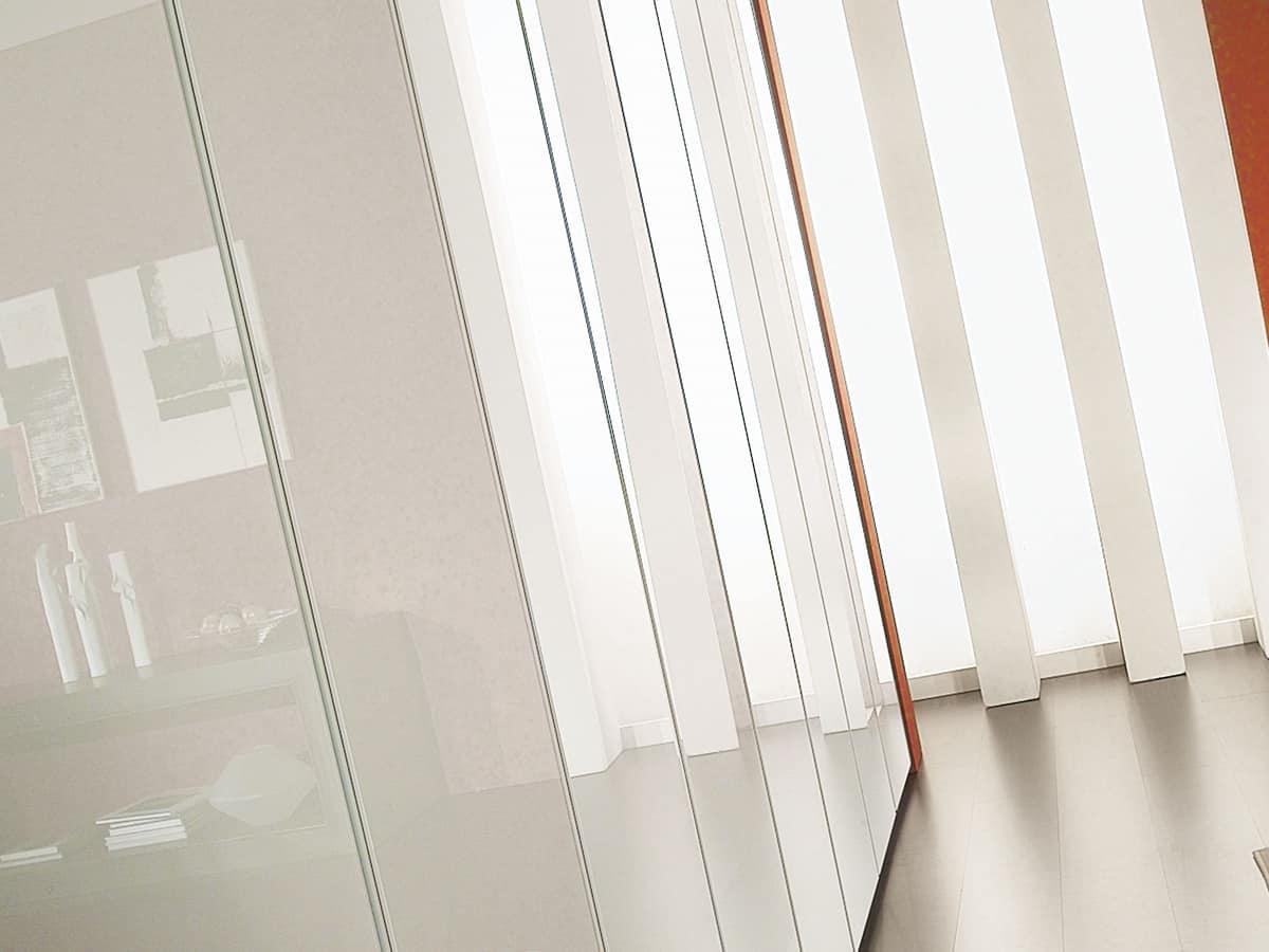 Wardrobe Idra Polished Glass 23, Modular wardrobe, covered with glass, linear style