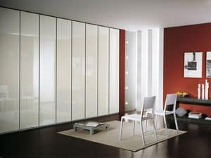 Wardrobe Idra Polished Glass 23, Modular wardrobe, covered with glass, linear style