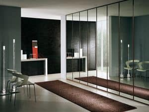 Wardrobe Idra Polished Glass 23, Modular wardrobe covered with mirrors, elegant and robust