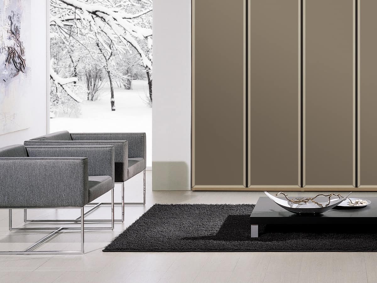 Wardrobe Tera 01, Linear cabinet with wide-opening doors, various colors
