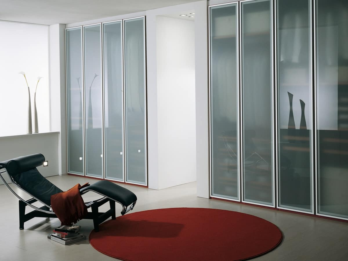 Armadio In Vetro wardrobe with frosted glass doors, for the home and office