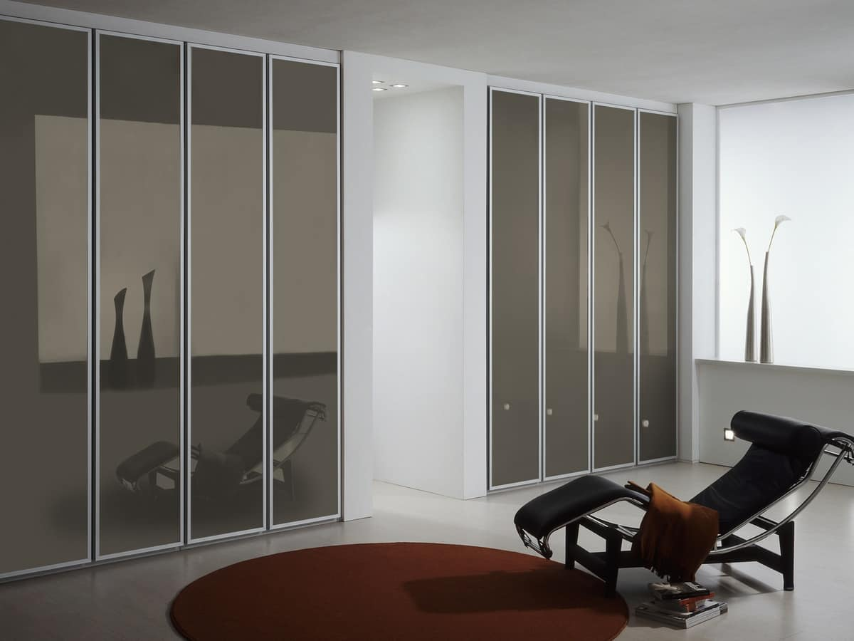 Wardrobe Tera 07, Wardrobe with frosted glass doors, for the home and office